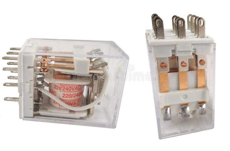 The electromagnetic relay. Isolated on white background royalty free stock photo