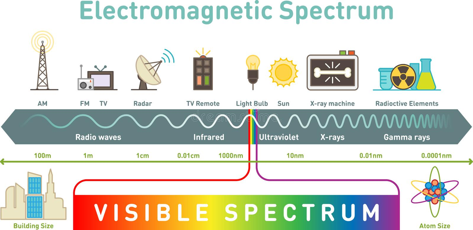 Electromagnetic spectrum infographic diagram, vector illustration royalty free stock photos