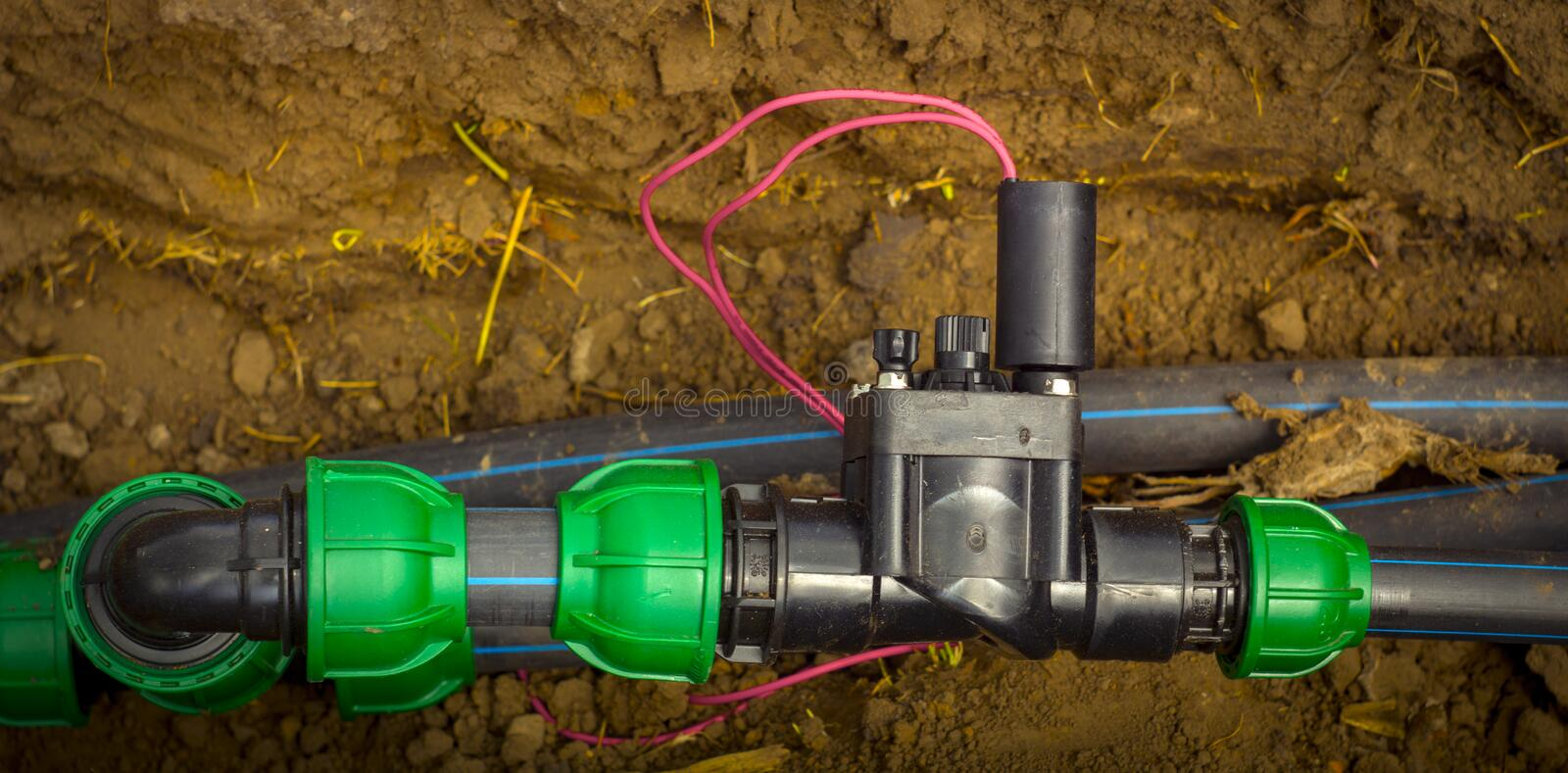Electromagnetic valve system of automatic fittings for water systems.  stock image