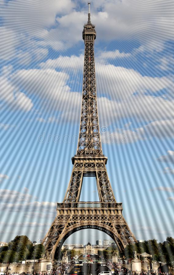 Electromagnetic waves from the antenna of the Eiffel Tower in Pa. Ris in France royalty free stock photo