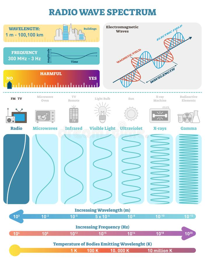 Electromagnetic Waves: Radio Wave Spectrum. Vector illustration diagram with wavelength, frequency, harmfulness and wave structure stock illustration