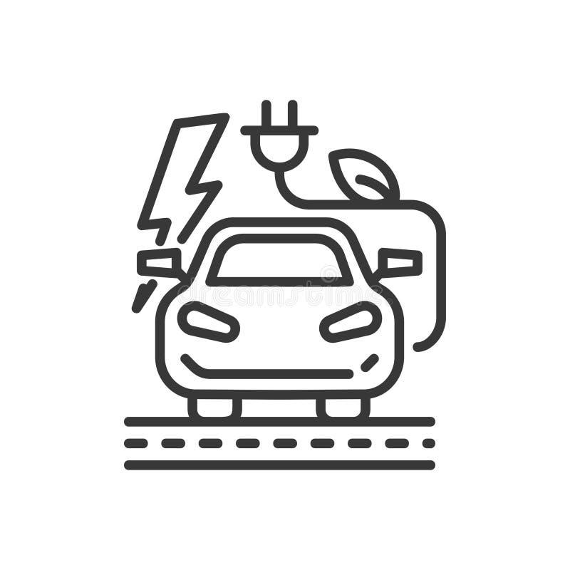 Electromobile - современный значок отдельной линии вектора бесплатная иллюстрация