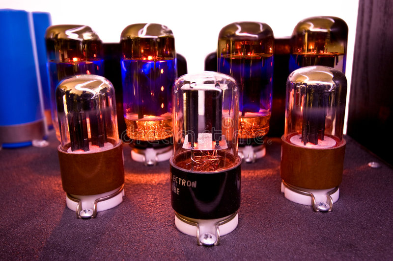 Electron Tube. Glowing electron tubes from amplifier stock photography