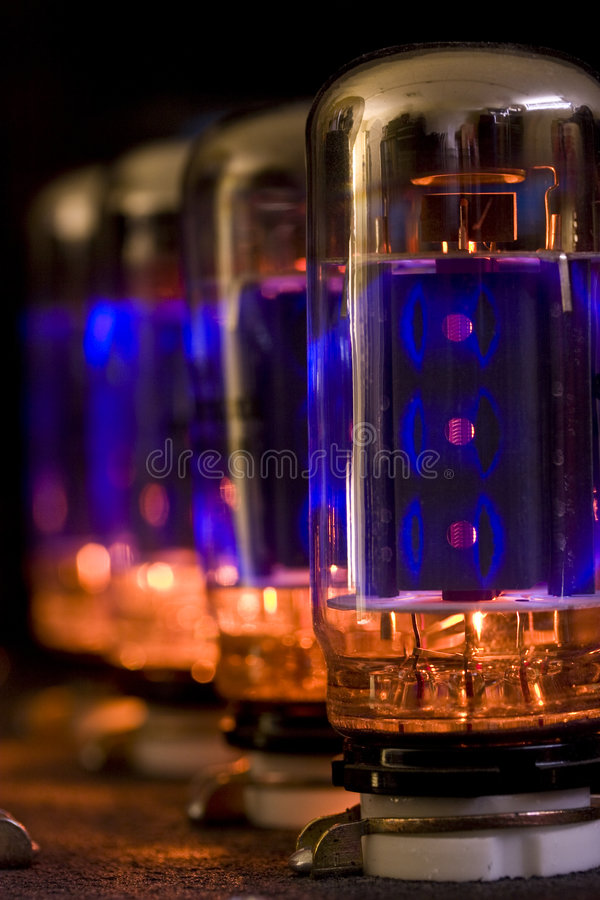 Electron Tube. Row of glowing electron tubes stock images