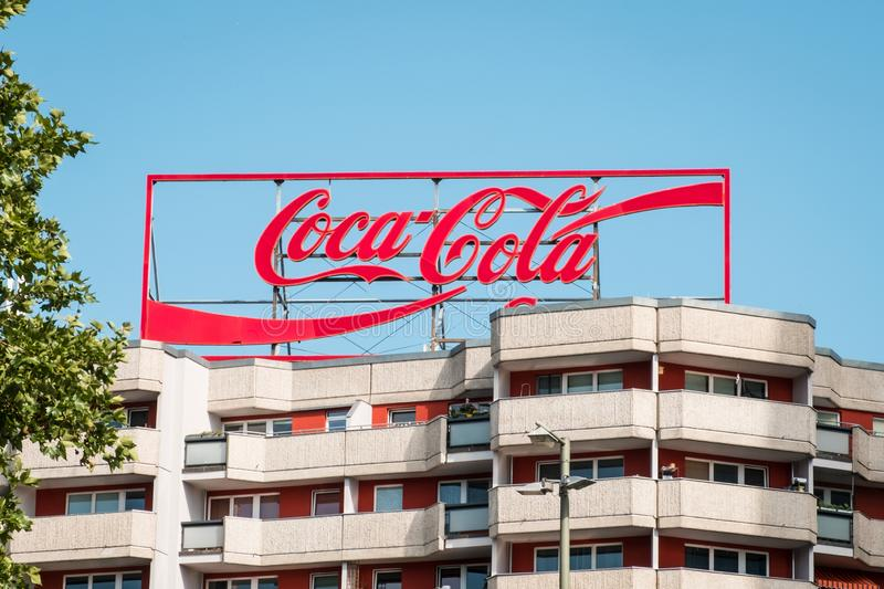 An electronic advertisement signage for  for `Coca Cola` Company in the Mitte district of Berlin. Berlin, Germany - june 2019: An electronic advertisment signage royalty free stock images