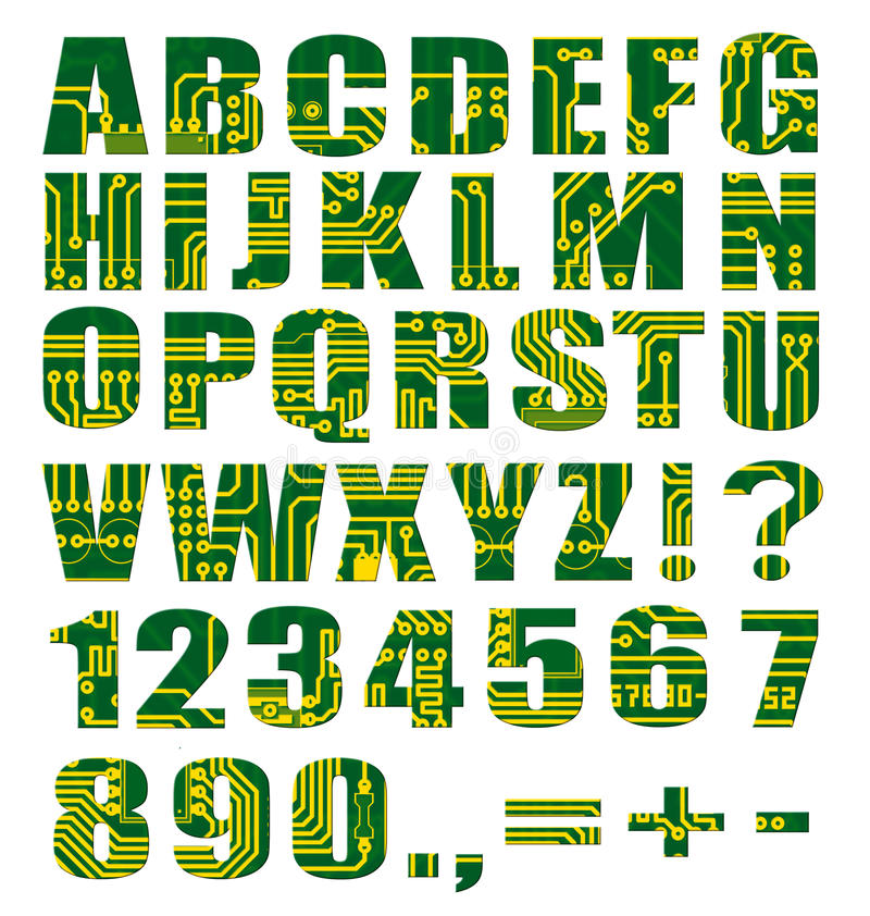 Free Electronic Alphabet With Letters And Digits Royalty Free Stock Photography - 12831197