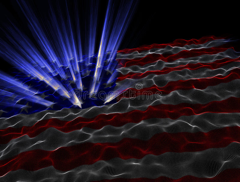Electronic American Flag Background. An abstract representation of the american flag stock illustration