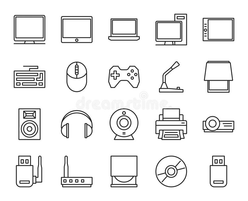 Electronic and analog devices. basic set of simple linear icons royalty free illustration