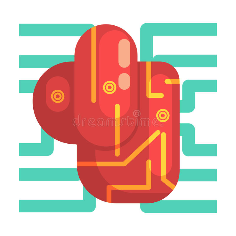 Electronic Android Heart Internal Organ, Part Of Futuristic Robotic And IT Science Series Of Cartoon Icons. Computer Technology Future Progress Illustration In royalty free illustration