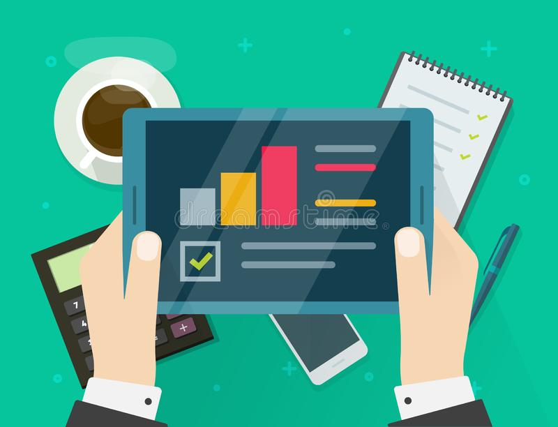 Electronic audit research report on tablet vector, flat cartoon person hands with tablet and financial or quality royalty free illustration