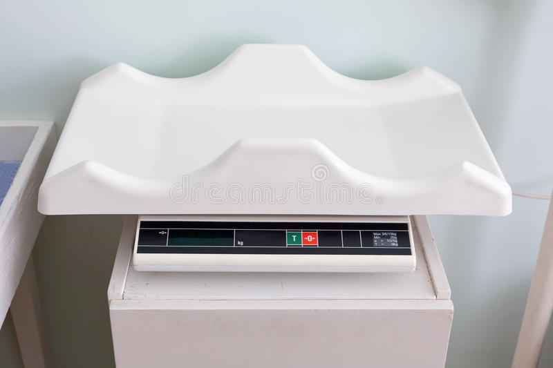 Electronic baby scale stock photos