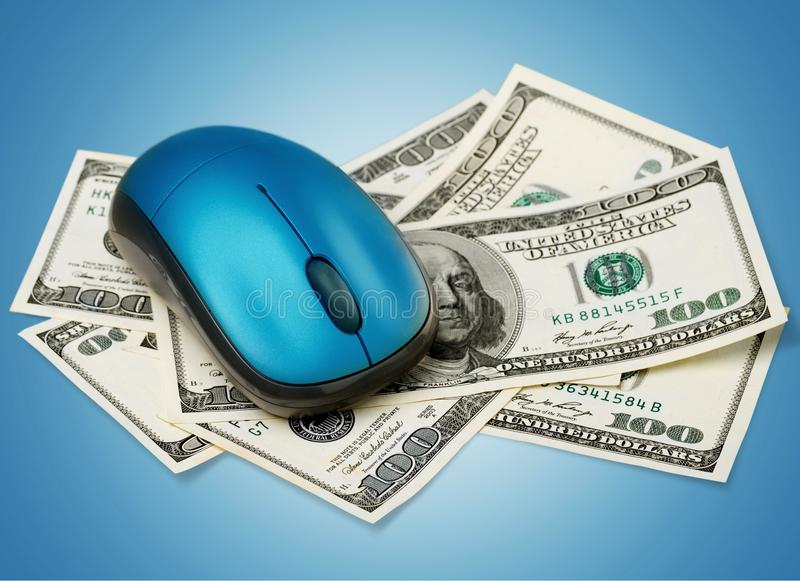 Electronic Banking. Currency Computer Computer Mouse Technology Finance Wealth royalty free stock photo