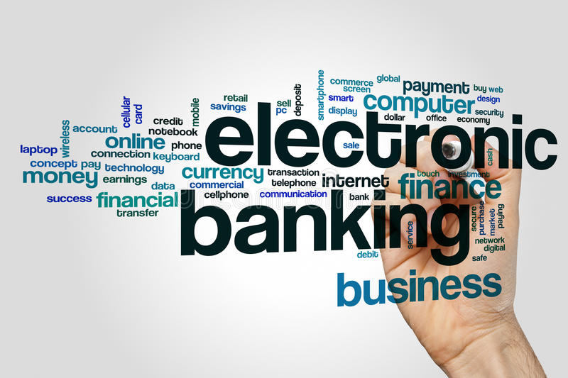 Electronic banking word cloud. Concept royalty free stock photo
