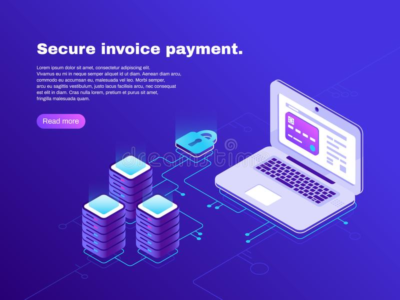 Electronic billing connection of laptop and database. Secure invoice payment. Electronics transaction bill 3d isometric royalty free illustration