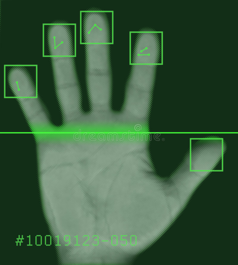 Electronic biometric fingerprint scanning vector illustration