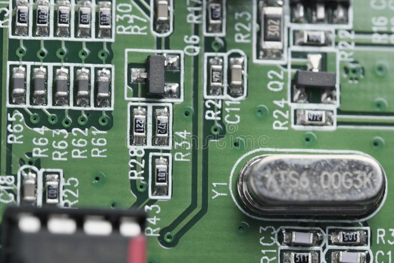 Electronic board with electronic components stock photo
