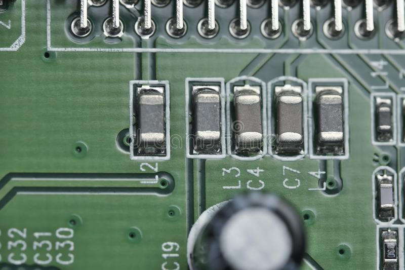 Electronic board with electronic components stock image