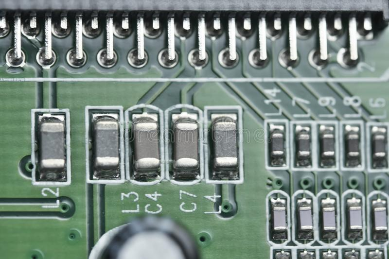 Electronic board with electronic components royalty free stock photography