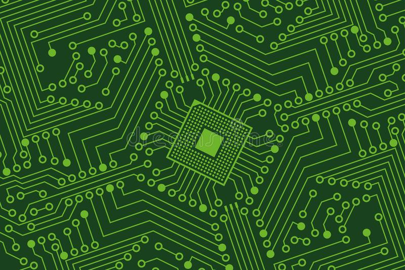 An electronic board. The electronic board from the computer in green color with a microprocessor in the center. Vector image vector illustration