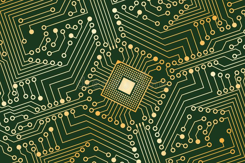 An electronic board. The electronic board from the computer in green and gold color with a microprocessor in the center. Vector image vector illustration