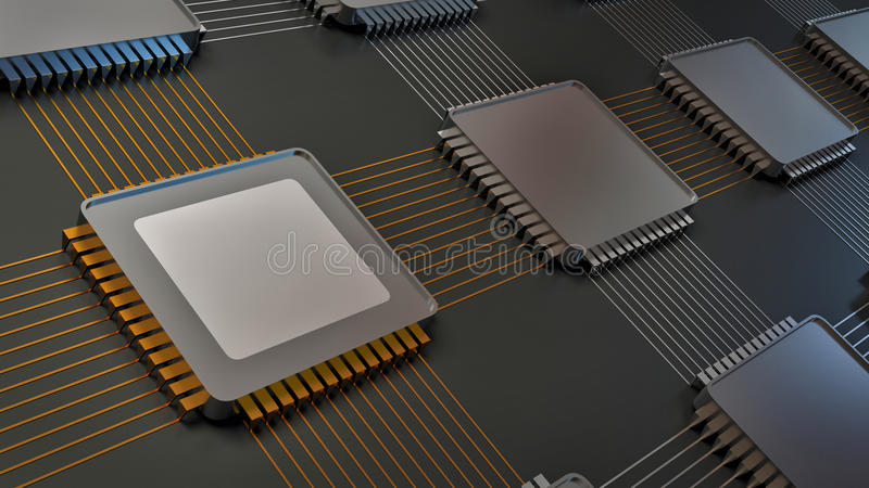 Electronic board and main chip.  stock illustration