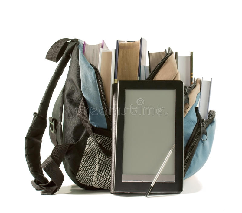 Electronic book with books in backpack royalty free stock photo
