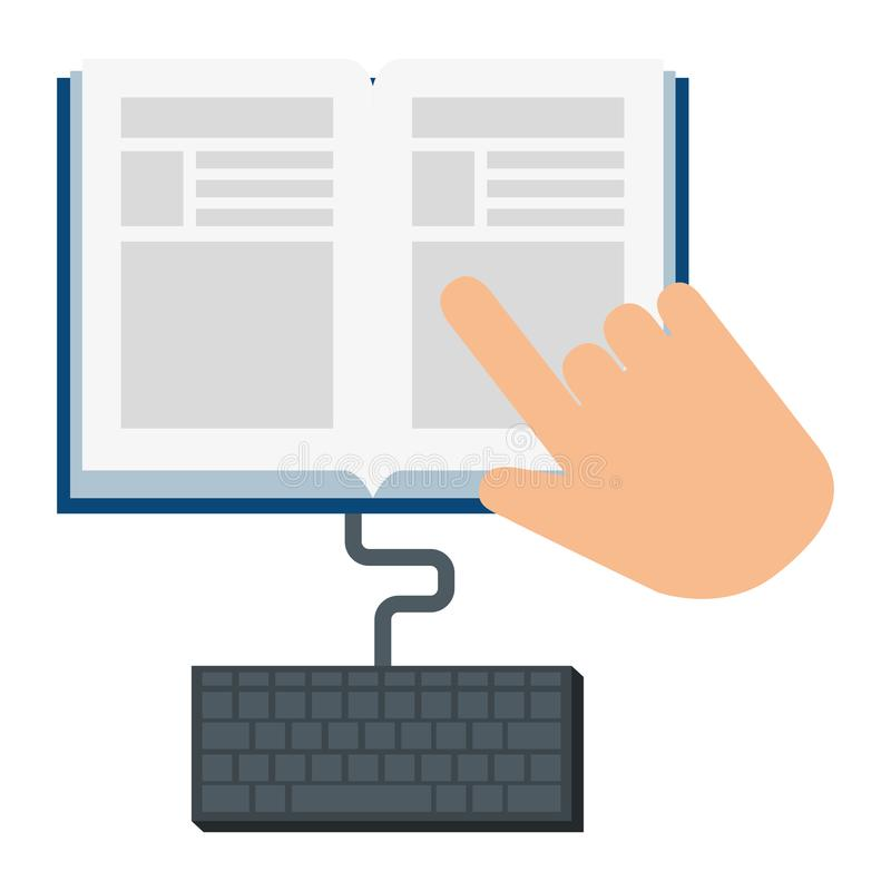 Electronic book with hand and keyboard stock illustration