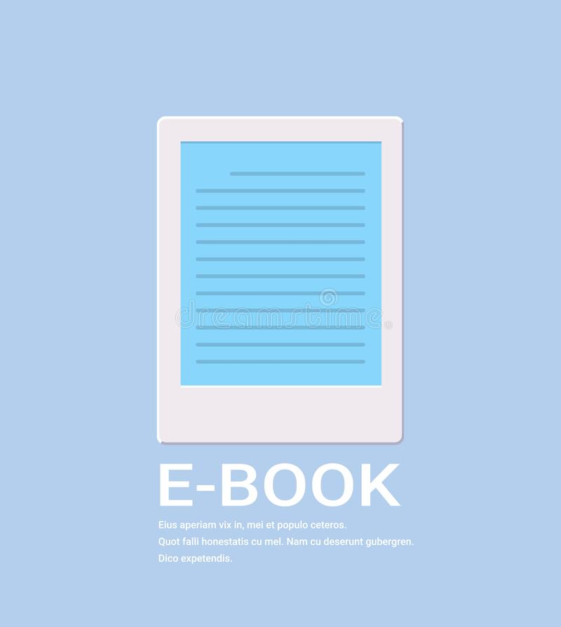 Electronic book icon digital reading ebook concept internet learning e-book library online information flat vertical stock illustration
