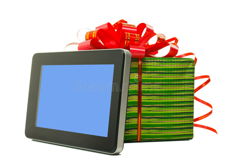 Electronic book reader with present box stock photo