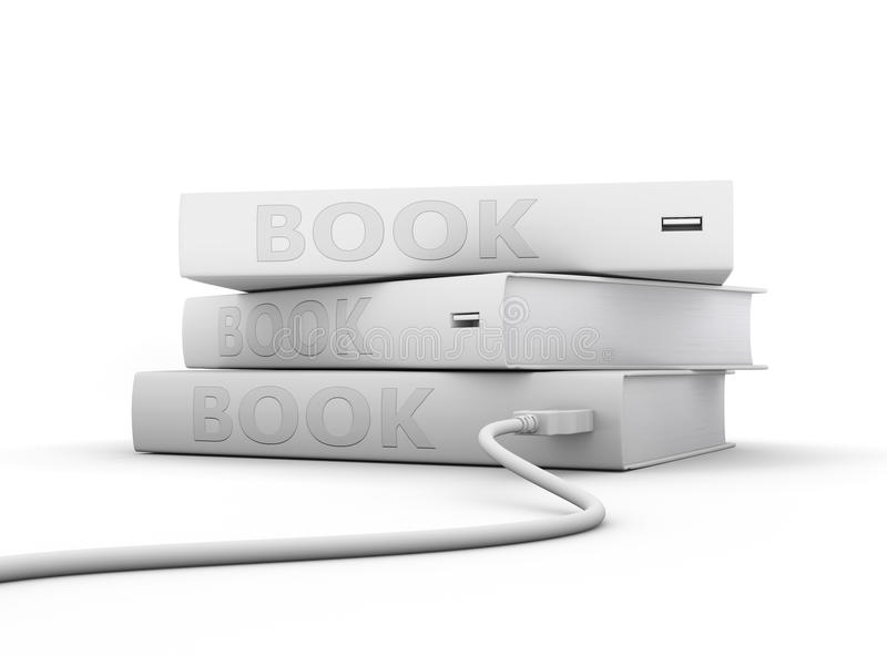 Electronic books. Gray electronic books with USB cable on white background royalty free illustration