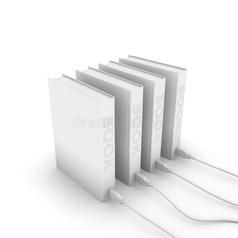 Electronic books. Gray electronic books with USB cable on white background vector illustration