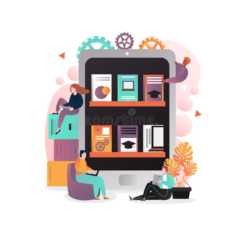 Electronic books vector concept for web banner, website page royalty free illustration