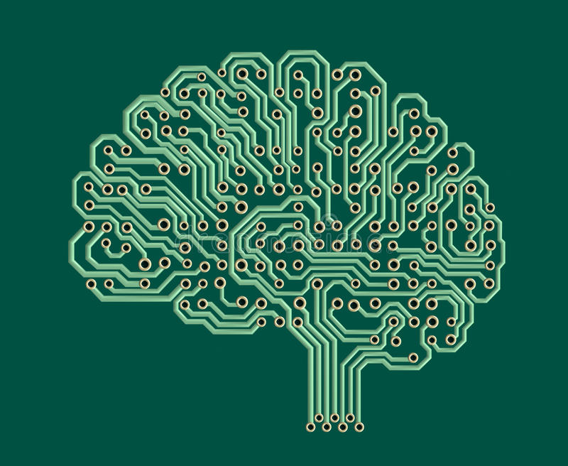 Electronic brain vector illustration