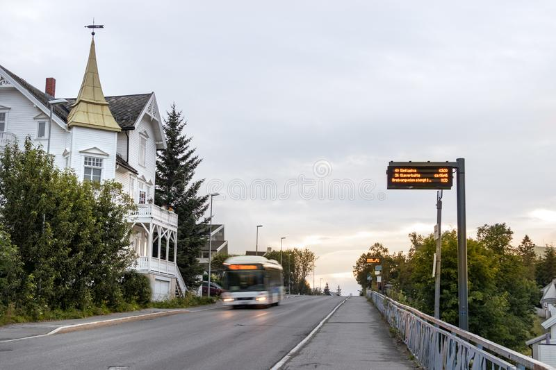 An electronic bus stop with timetable in Tromso, Norway.  stock photography