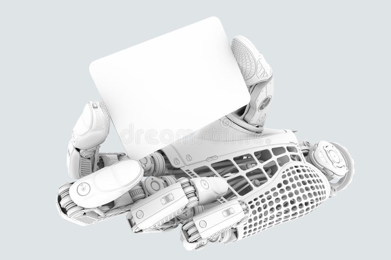 Electronic business finance concept of robotic arm with plastic clean plate in a card shape royalty free illustration
