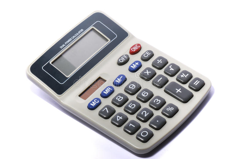 Electronic calculator against a white backdrop. A photo taken on an electronic calculator against a white backdrop stock photos