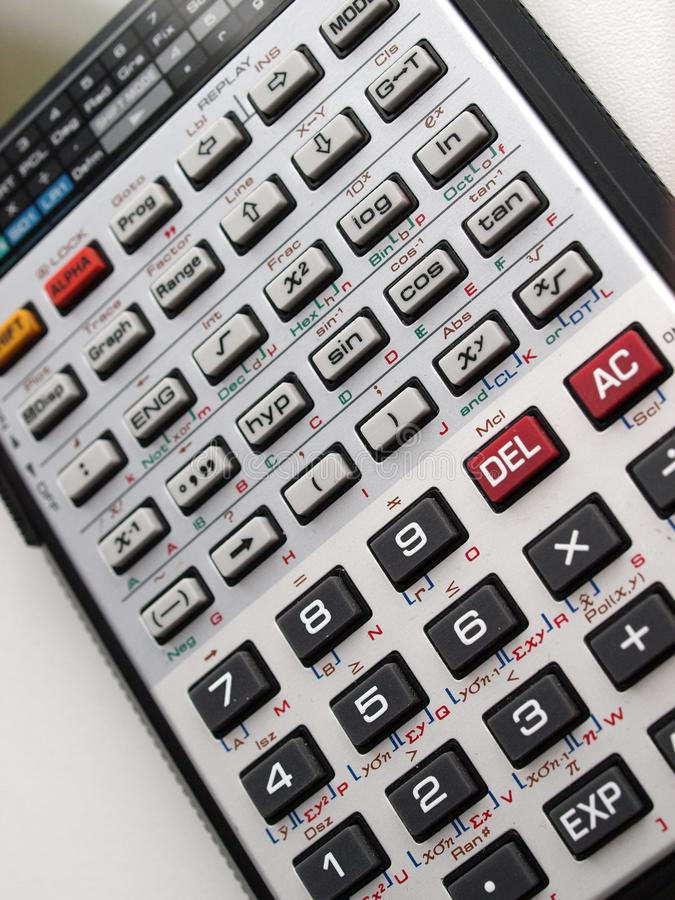 Electronic calculator. Close up of scientif electronic calculator keyboard royalty free stock images