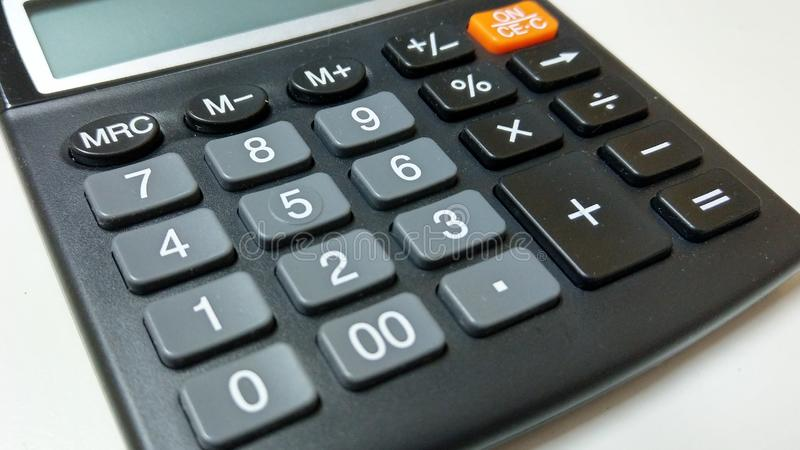 Electronic calculator. Image of an electronic calculator and numeric keys royalty free stock images