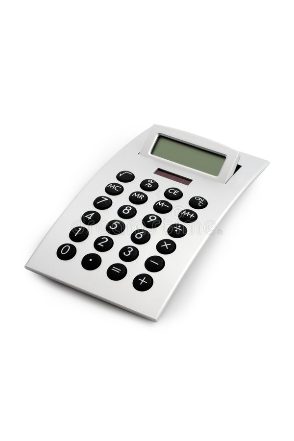 Electronic Calculator Isolated. Design electronic calculator, 3/4 front view. Isolated on white with clipping path excluding shadows royalty free stock photos