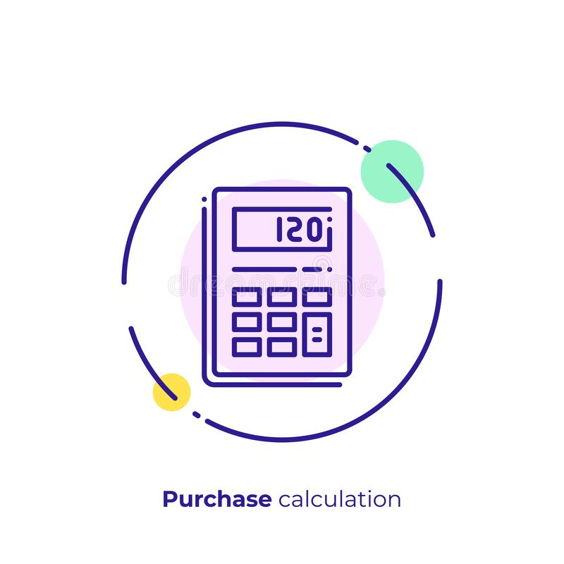 Electronic calculator line art vector icon. Line art budget calculator. Finance calculation. Scalable vector icon in modern outline style. Lineart elements stock illustration