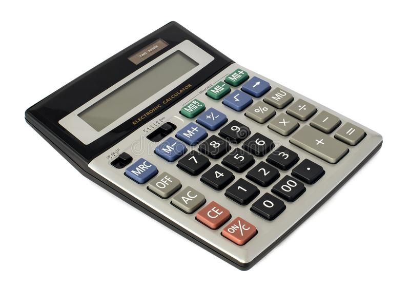 Electronic calculator on photovoltaic cells. Electronic calculator used for mathematical calculations on solar cells royalty free stock image