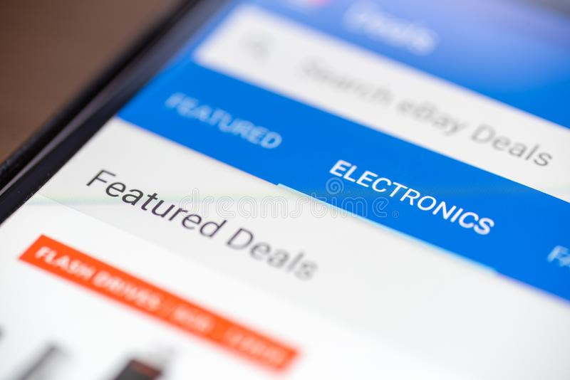 Electronic category button link on shopping app on smartphone screen closeup.  stock photos