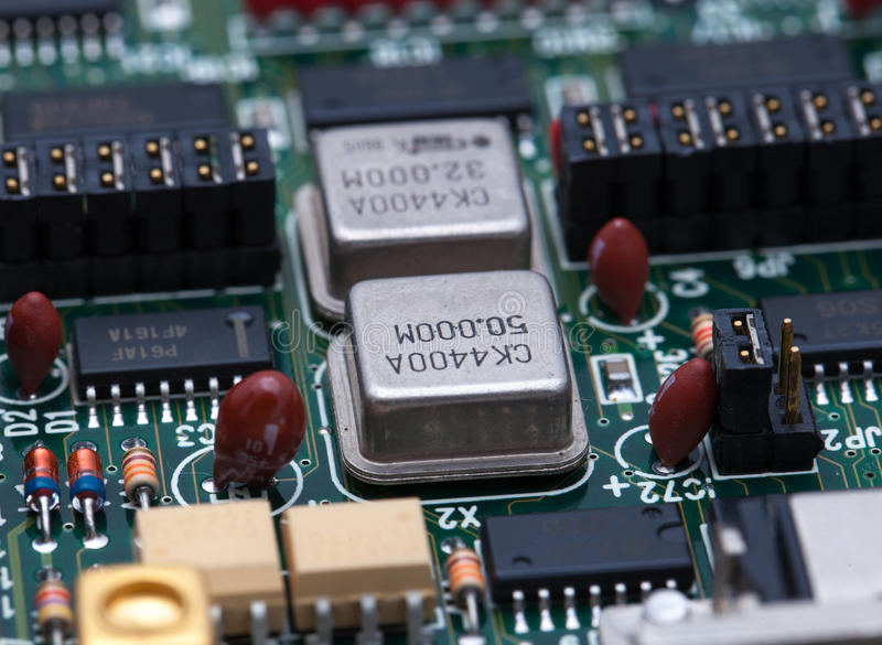 Electronic chip on PCB.  royalty free stock image