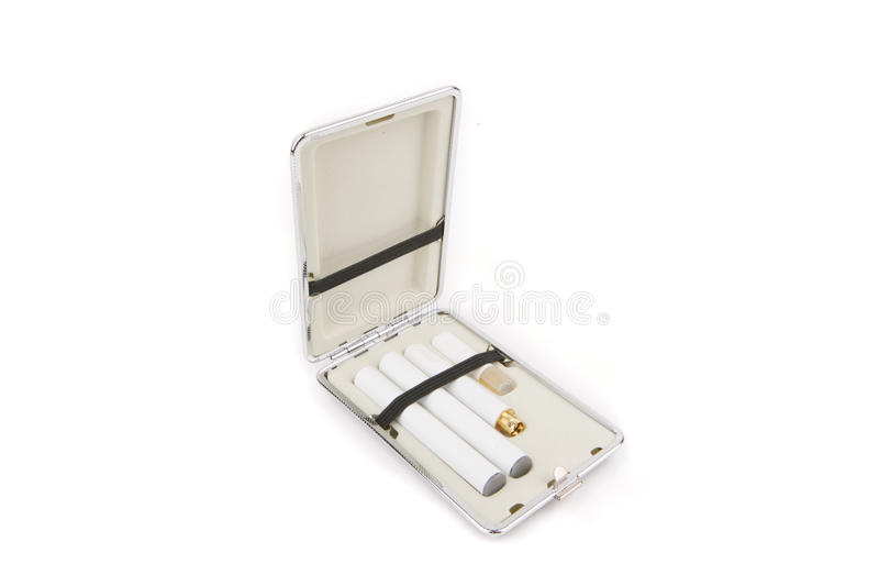 Electronic Cigarette in Carrying Case. Electronic Cigarette in Shiney Chrome Carrying Case with Replacement stock photo