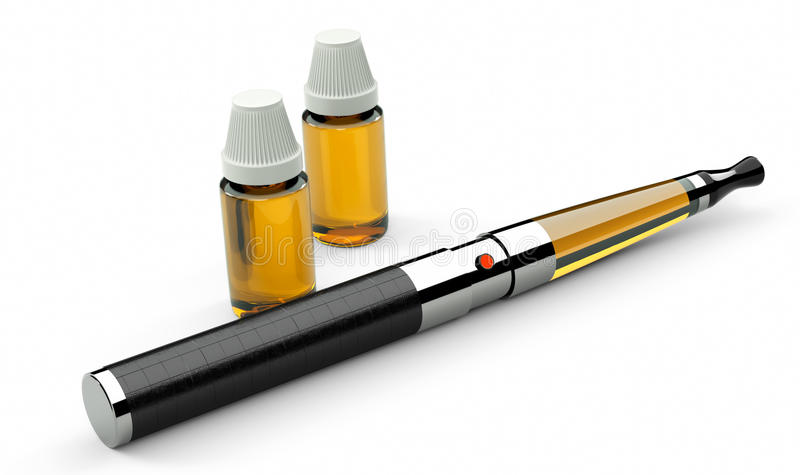 Electronic cigarette leather and metal stock photo