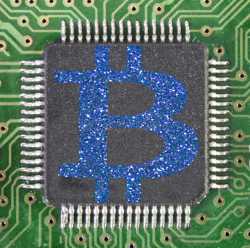 Electronic Circuit With The Blue Symbol Of The New Cryptocurrency Called Bitcoin Stock Photo ...