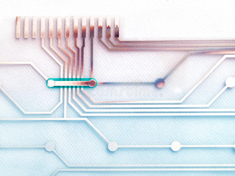 Electronic Circuit Board. Damaged electronic circuit board with a little burn stock illustration
