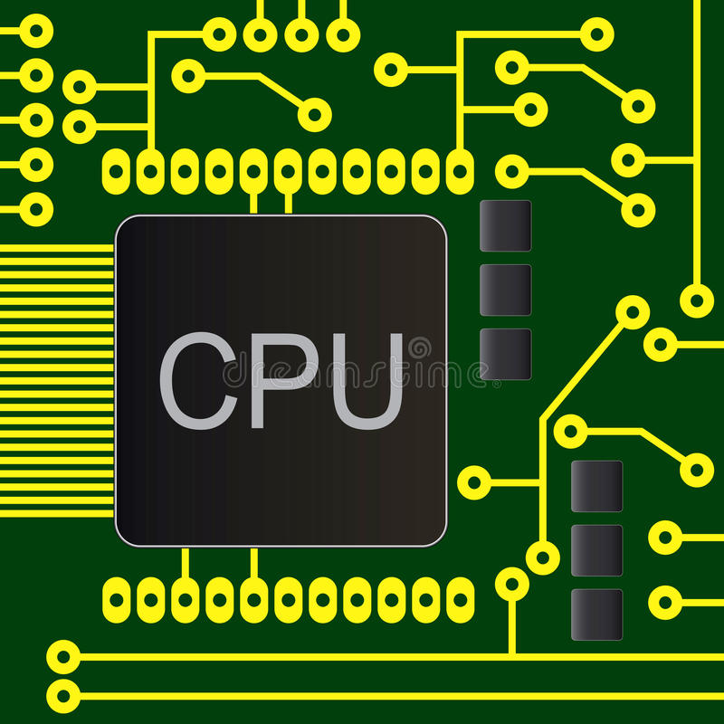Electronic circuit board with chip vector illustration