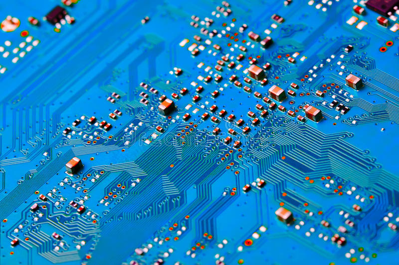 Electronic circuit board close up. Background can use the Internet, print advertising and design stock image