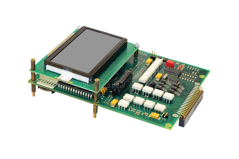 Electronic circuit board with display. stock images